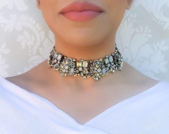 White & Gold Rhinestone Choker Necklace