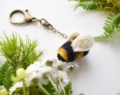 Needle Felted and Hand Embroidered Bumble Bee, Bumble Bee Bag Charm, Bee Purse Charm, Little Bee, Wool Charm, Nature Gift