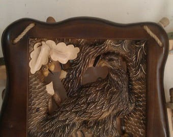 Wood Carved picture quail Gift for the hunter