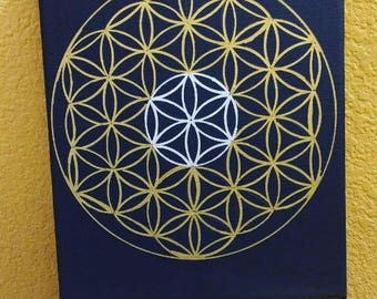 Flower of life sacred geometry painting