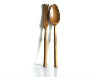 Vintage Mid century wooden salad utensils fork and spoon