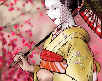 Geisha Standing with Japanese Cherry Blossoms