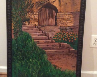 Door & staircase oil painting. Framed!