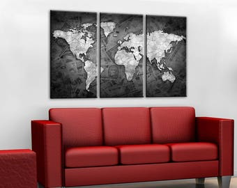 Black and white design Canvas wall art Canvas World map Canvas World map Wall Art Canvas Print Wall decor Home decor World map canvas