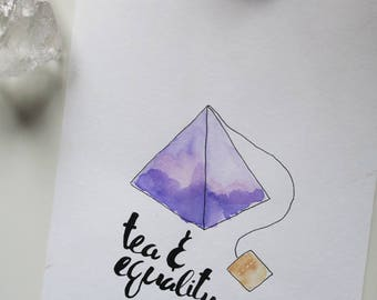 Handmade Watercolor Feminist Tea Print