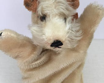 Rare Steiff Fox Terrier Puppet / 1950's Collectable Steiff / Vintage 50s Hand Puppet