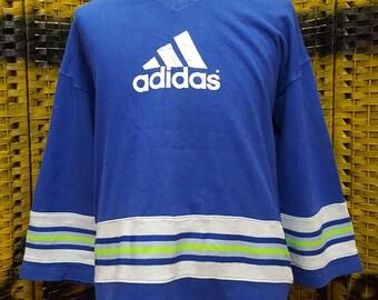 Vintage ADIDAS / stripes striped / big logo / Large size sweatshirt (N001)