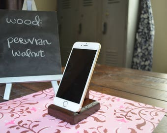 Phone stand made of exotic hardwood (fits iphone & androids)