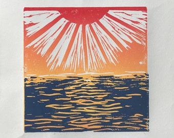 Sunset - Handmade Linocut Print