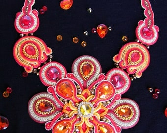 FREE SHIPPING WORLDWIDE soutache necklace prize-winner of the international competition