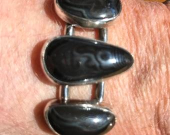 Silver crown Psilomelane bracelet