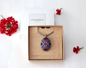Cross stitch jewelry, gift from son to mom, wifes necklace gift, accessories, cross stitch necklace, embroidered pendant, wife necklace gift