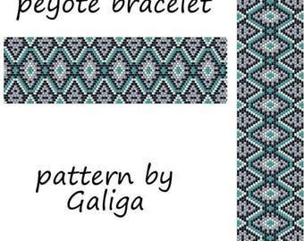 Peyote pannern Peyote bracelet pattern Ethnic ornament pattern Beading pattern Beadwork pattern Beaded cuff pattern Beadweaving pattern