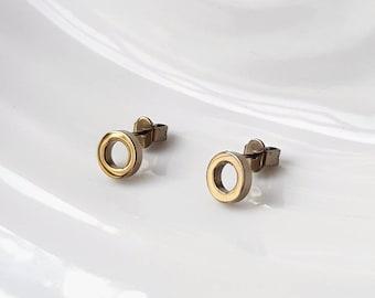 Titanium earrings Anodised Gold with titanium stud backings. Hypoallergenic titanium studs. Allergy free earrings. Allergy free studs