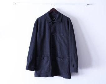 Dark Grey Button Up Overcoat. Size Medium. Early 1990s