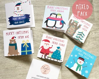 Children's Personalised Christmas Cards / Kids / Class School Greeting Cards / Xmas / Envelopes / Santa