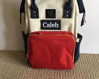 LAND Diaper Backpack Diaper Bag Backpack Nursing Bag, Special Edition Cream/Red/Navy