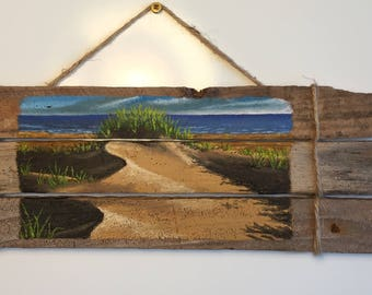Handmade, hand-painted oil on driftwood seascape. Dunes on Lobster Trap Driftwood