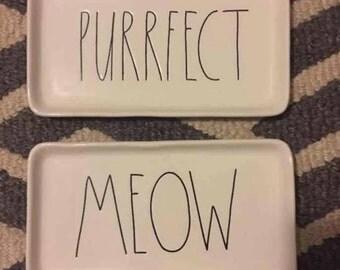 Rae Dunn meow & purrfect cat plate set