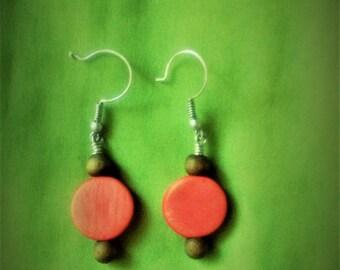 Cute wood bead and silver earrings