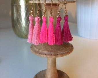 Mini Tassel Earrings in shades of Pink Coral, Bright Neon and Dark Cerise - Handmade UK