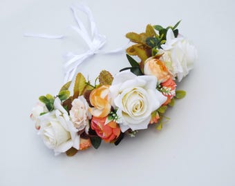 Rustic  White and orange flower crown