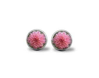 Pink Dahlia Flower Earrings