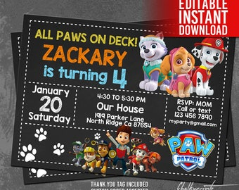 Paw Patrol Invitation Instant Download, Paw Patrol Birthday Invitation, Paw Patrol Invites and Thank You Tag, Editable PDF Template