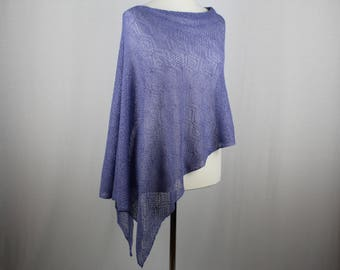 Blue knit poncho, Summer knit poncho,  Knit poncho, Lightweight poncho, Womens knitted poncho, Cotton poncho