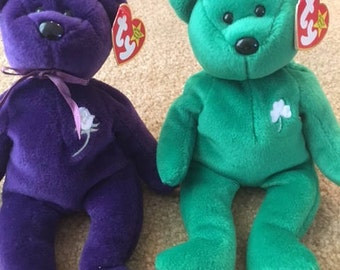 Original TY Beanie Baby collector items Princess Di and Erin Bear