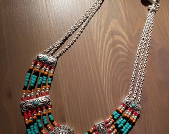 Beaded Indian Style Necklace w/ Earrings