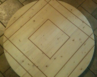 Unfinished True Inlay Round Table Top