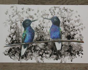 Hummingbird Ink and Colored Pencil Art 12x10  Original Blue and Green Birds