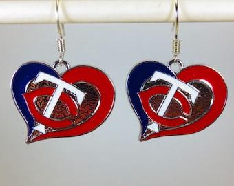 Minnesota Twins Heart Earrings