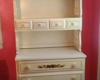 Dresser Hutch Vintage Dixie: 2-Piece 3 Drawer Dresser with Bookcase / Hutch c1982