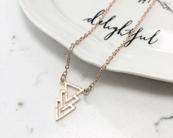 Geometric Triangles Arrow Necklace - Silver/Gold/Rose Gold Pendant Charm