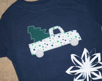 Christmas Tree in a Pickup Truck on a Navy Shirt - Boy Size 4