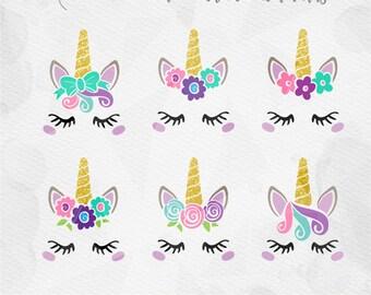 Unicorn SVG Unicorn Face SVG Unicorn Head SVG Unicorn horn Birthday - Cricut Silhouette - pdf png svg - girls birthday MLY2017025
