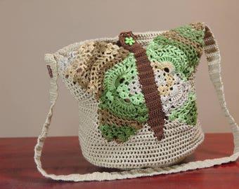 Crochet handbag, art bag, crochet butterfly bag, art bag, butterfly purse in green and beige, toiletry storage