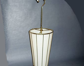 Vintage, brass umbrella stand with drip tray and all around plastic cover, probably from the 50s - 60s, gift idea,