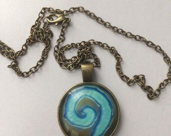 Anime Cosplay Bronze Cabochon Pendant Necklace-b44