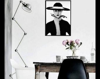 Fashion Model Print, Vogue Model Print, Vogue Print, Black and White Print, Model Printable, Fashion Wall Art, Modern Decor, Print for Wall