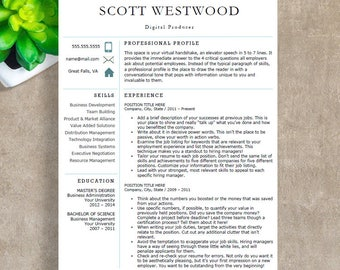 Modern Resume Template | Professional Resume Template for Word | 1, 2 and 3 Page Resume Template, Cover Letter | Instant Download Resume