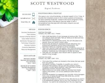 resume template cv template for word 4 pack social media. Black Bedroom Furniture Sets. Home Design Ideas