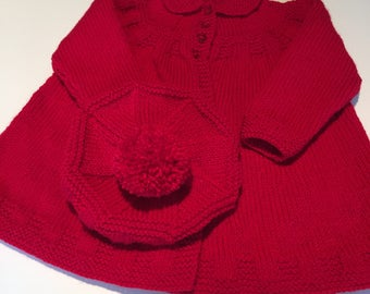 Vintage Style Toddler Coat and Beret in Christmas Red, approx 12 - 18 months, one only, Peter Pan collared girl's coat with pompom beret