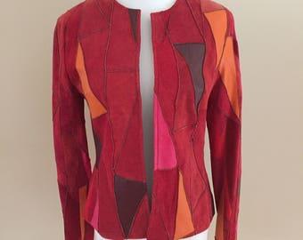1990's Vintage Suede/Leather Patchwork Jacket/Cache