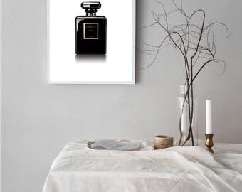 Chanel Perfume IllustrationPrint - Poster - Monochrome - Black and White