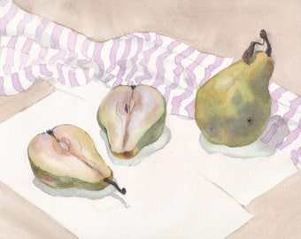 Original watercolor / Still life with green pears and striped drapery / Realistic art / Room decor / Pear cut / housewarming gift