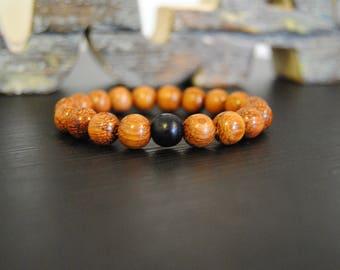 Beaded Men's Bracelet, Bayong Wood Beads