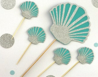 Seashell cake topper and 12 cupcake toppers, Under the Sea, Mermaid Birthday Party